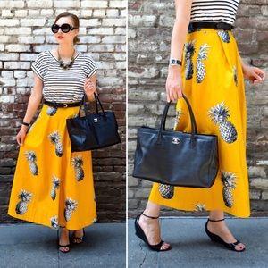Ann Taylor Yellow Pineapple Midi Skirt 2